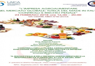 ''L'impresa agroalimentare nel mercato globale'': il seminario di Laica in collaborazione con l'Ordine degli Avvocati di Lecce